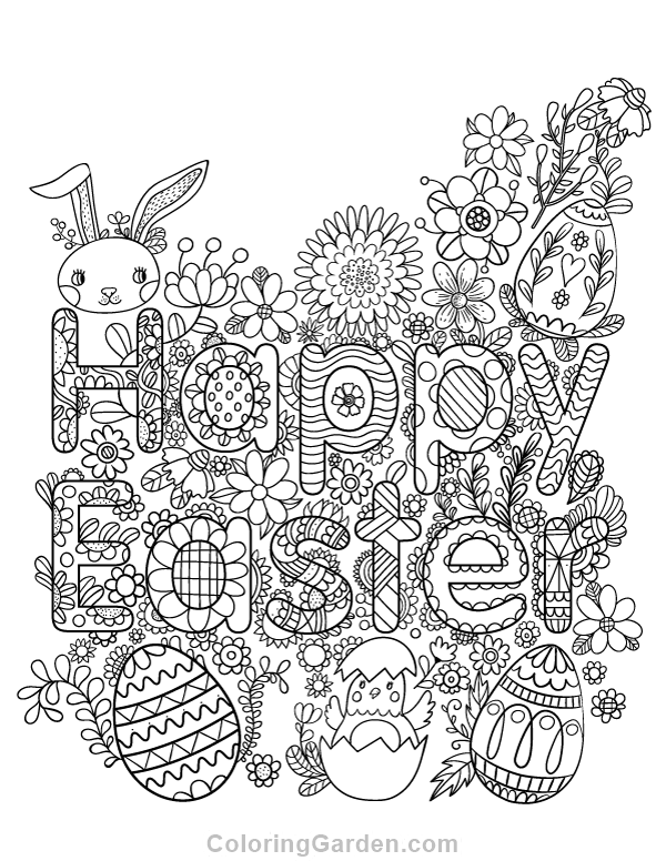 600x776 Happy Easter Adult Coloring Page