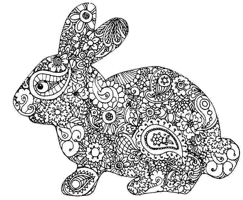 800x659 Adult Easter Coloring Pages Adult Coloring Page Easter Rabbit