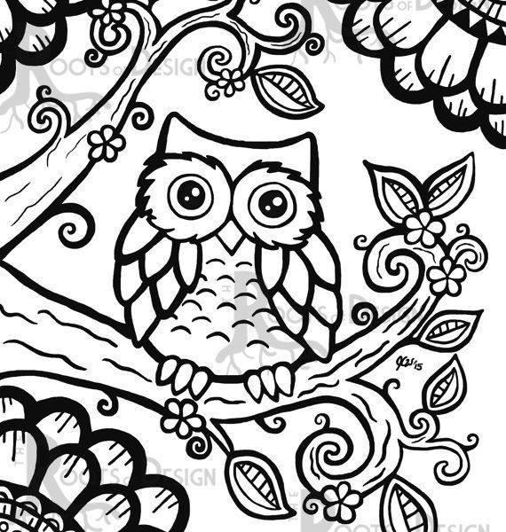 570x600 Easy Adult Coloring Pages Best Owl Coloring Pages Ideasly