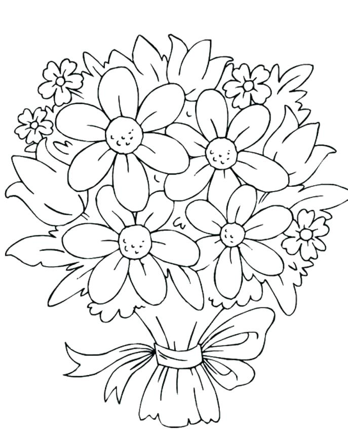 687x881 Easy Flower Coloring Pages Easy Coloring Pages In Addition To Easy