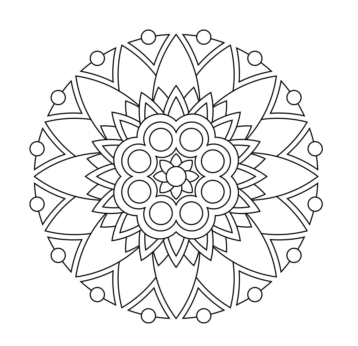 1240x1196 Easy Mandala Coloring Pages