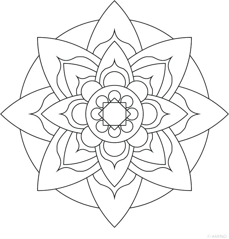 736x771 Flower Mandala Coloring Pages Easy Flower Coloring Pages Mandalas