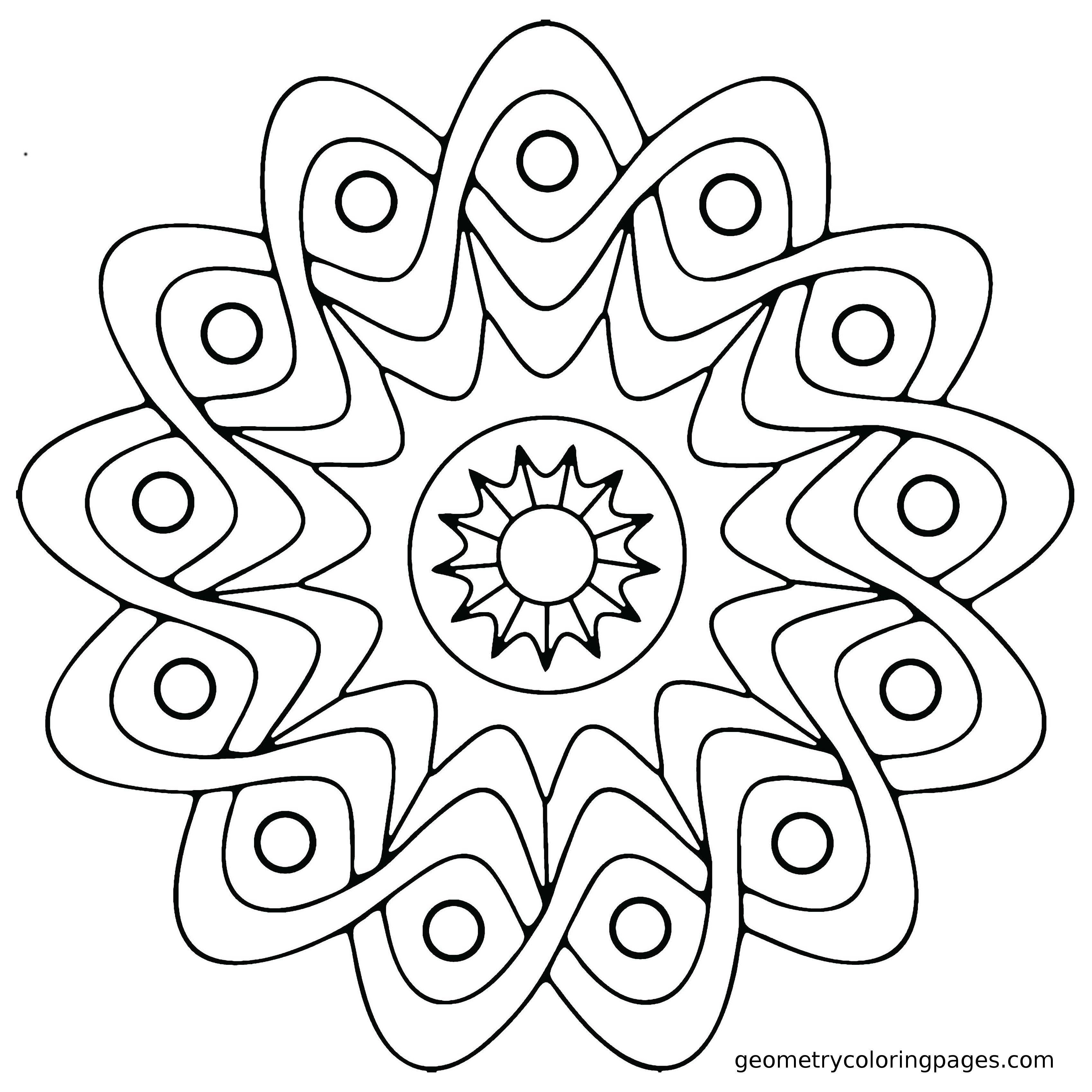 3400x3400 Mandala Coloring Page Star Shield