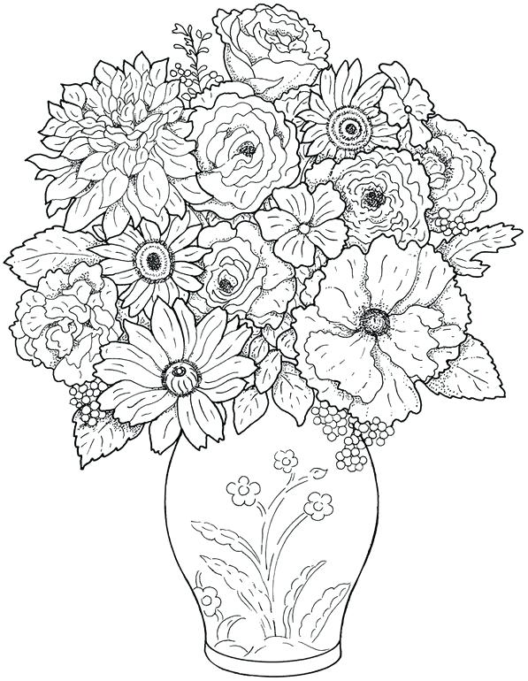 597x770 Flower Coloring Pages Adults Psychedelic Coloring Pages