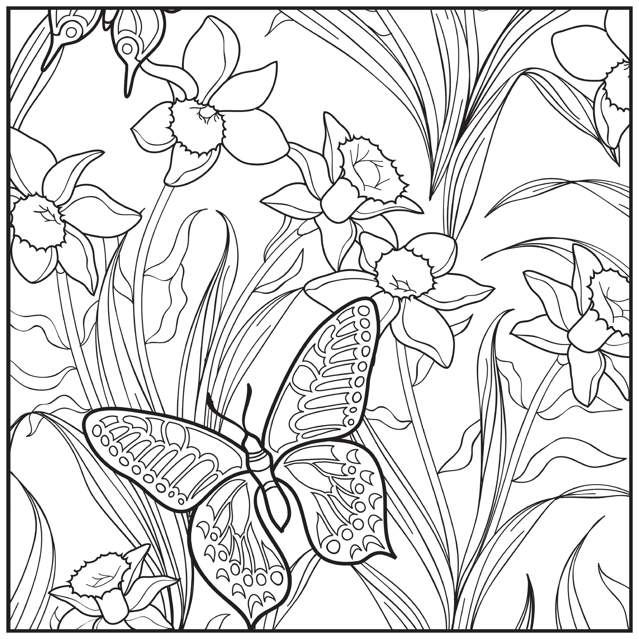 2048x2048 Garden Coloring Pages