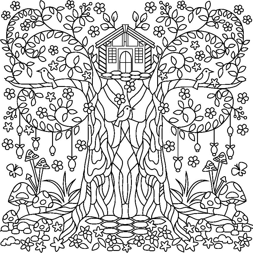 850x850 Tree Coloring Page For Adults Garden Coloring Pages