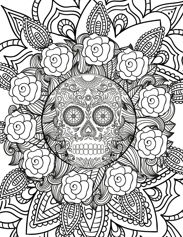 612x792 Free Spooky Halloween Adult Coloring Page Halloween Skull, Adult