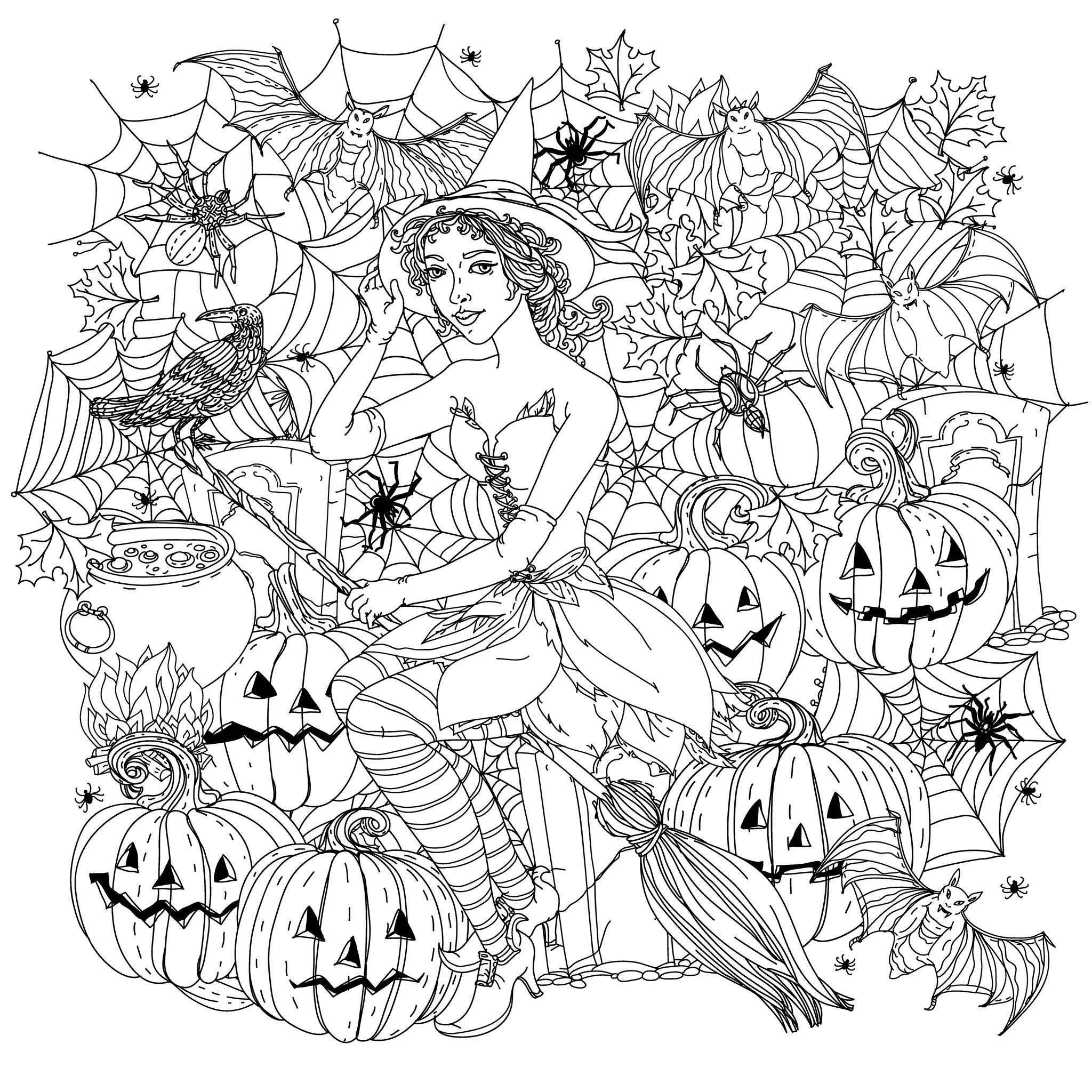 2048x2048 Halloween Witch With Pumpkins