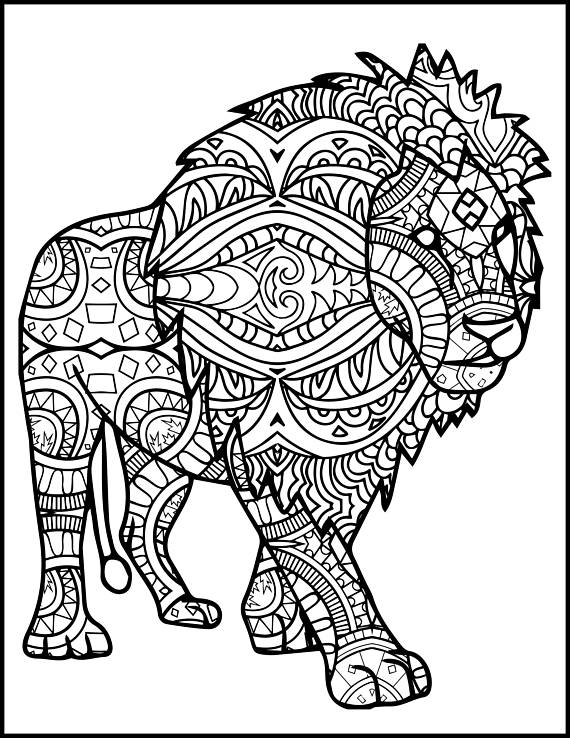 Adult Coloring Pages Lion