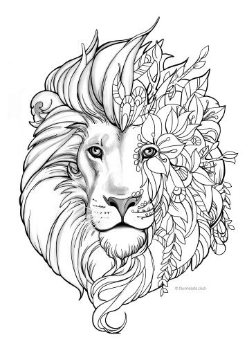 357x500 Fantasy Lion Lions, Adult Coloring And Coloring Books