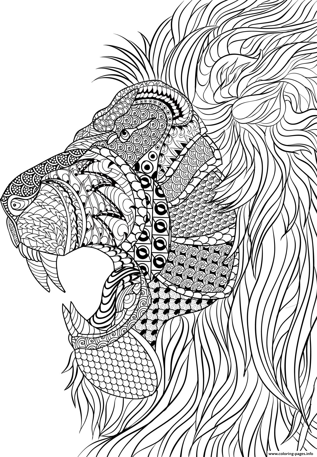 1280x1846 Lion Adult Anti Stress Coloring Pages Printable