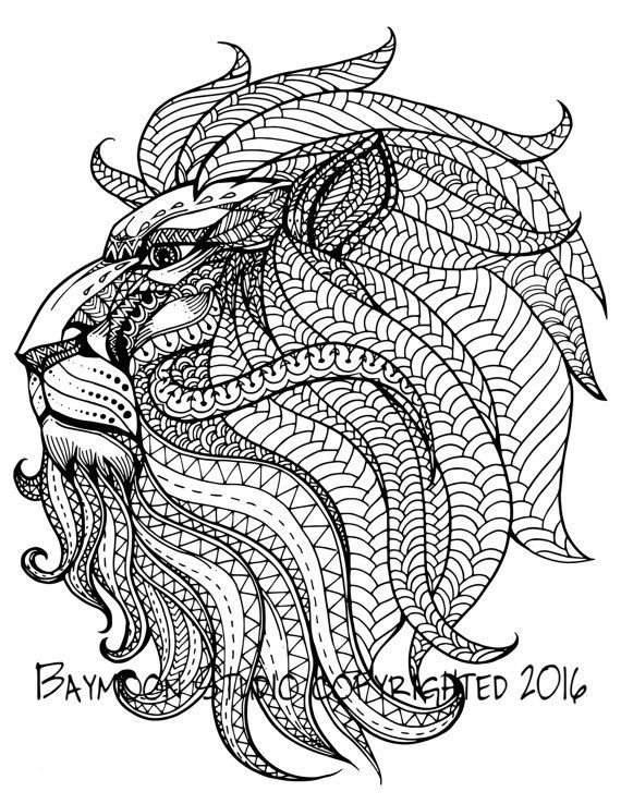 570x738 Royal Lion Head Adult Coloring Pages Colouring Animals