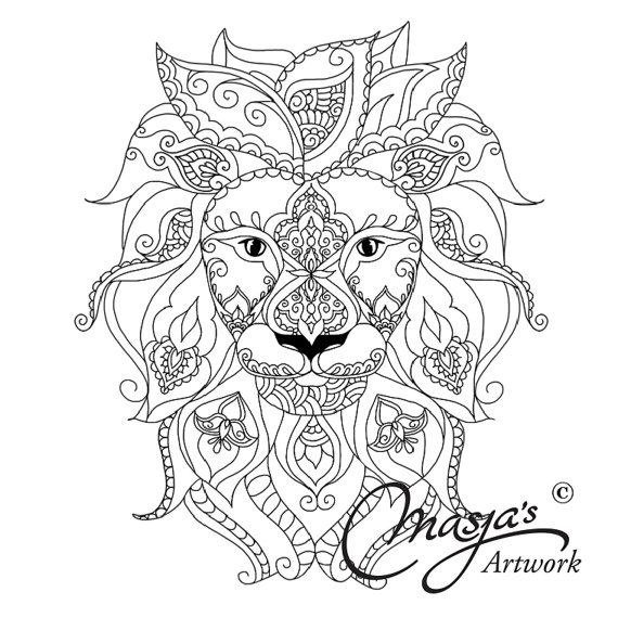 570x570 Adult Coloring Pages Lion Paisley Download