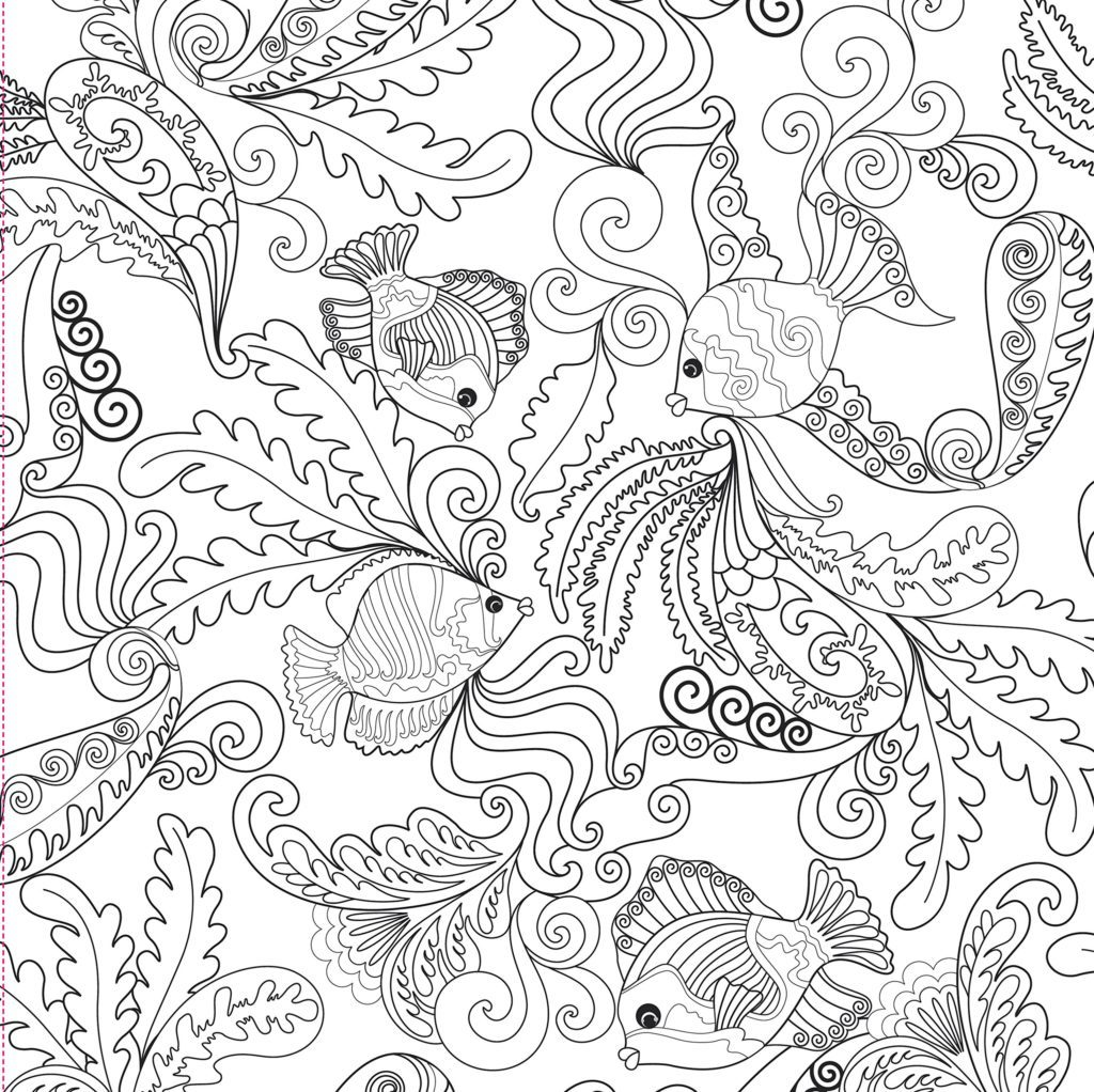 1024x1022 Coloring Pages Ocean Designs Adult Coloring Book Stress Relieving
