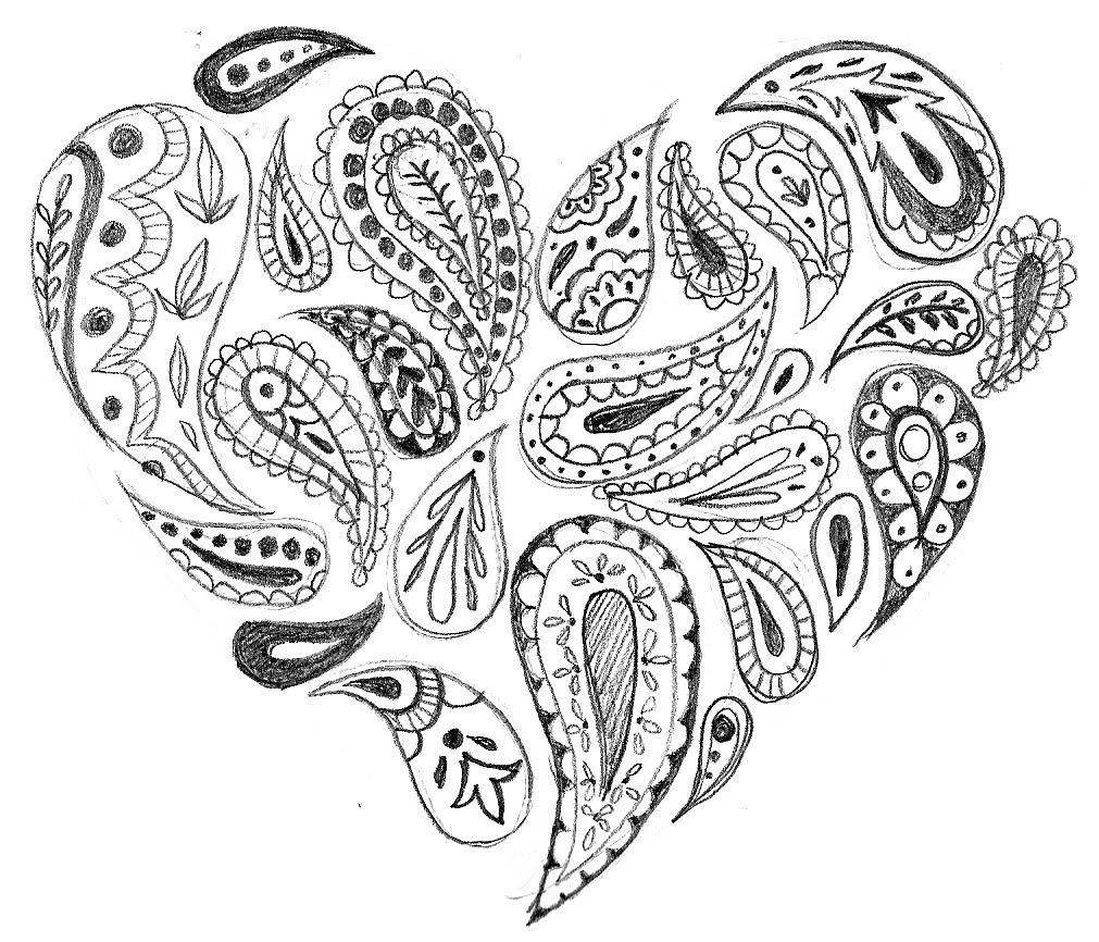 1011x866 Easy Paisley Coloring Pages