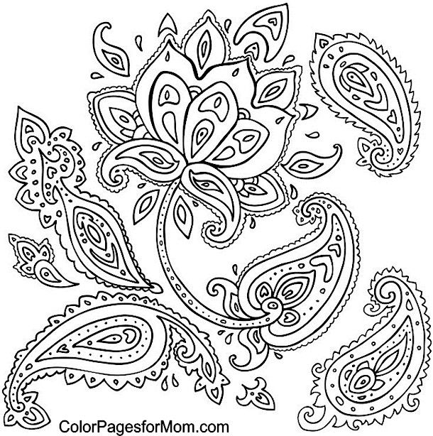 610x614 Adult Coloring Pages Paisley Paisley Coloring Page Coloring