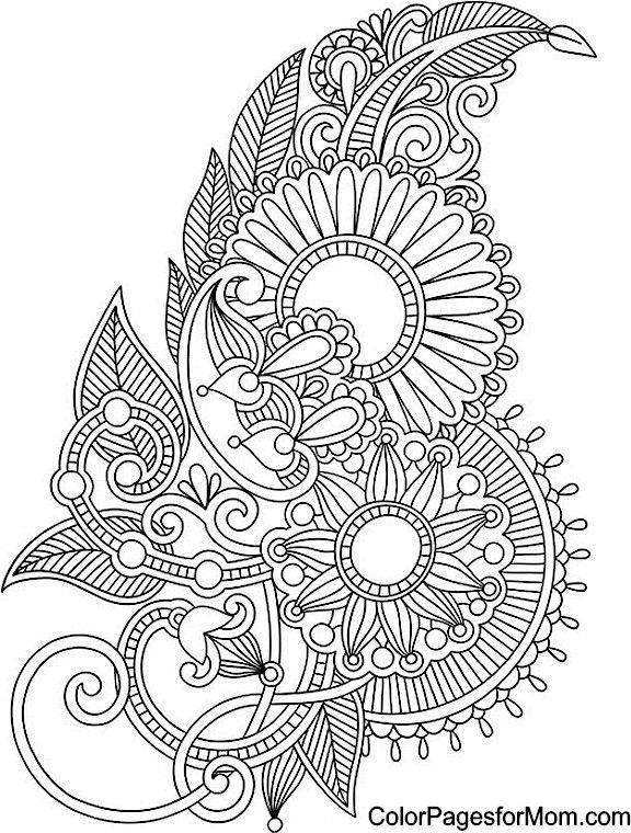 576x760 Adult Coloring Pages Paisley Patterns Free