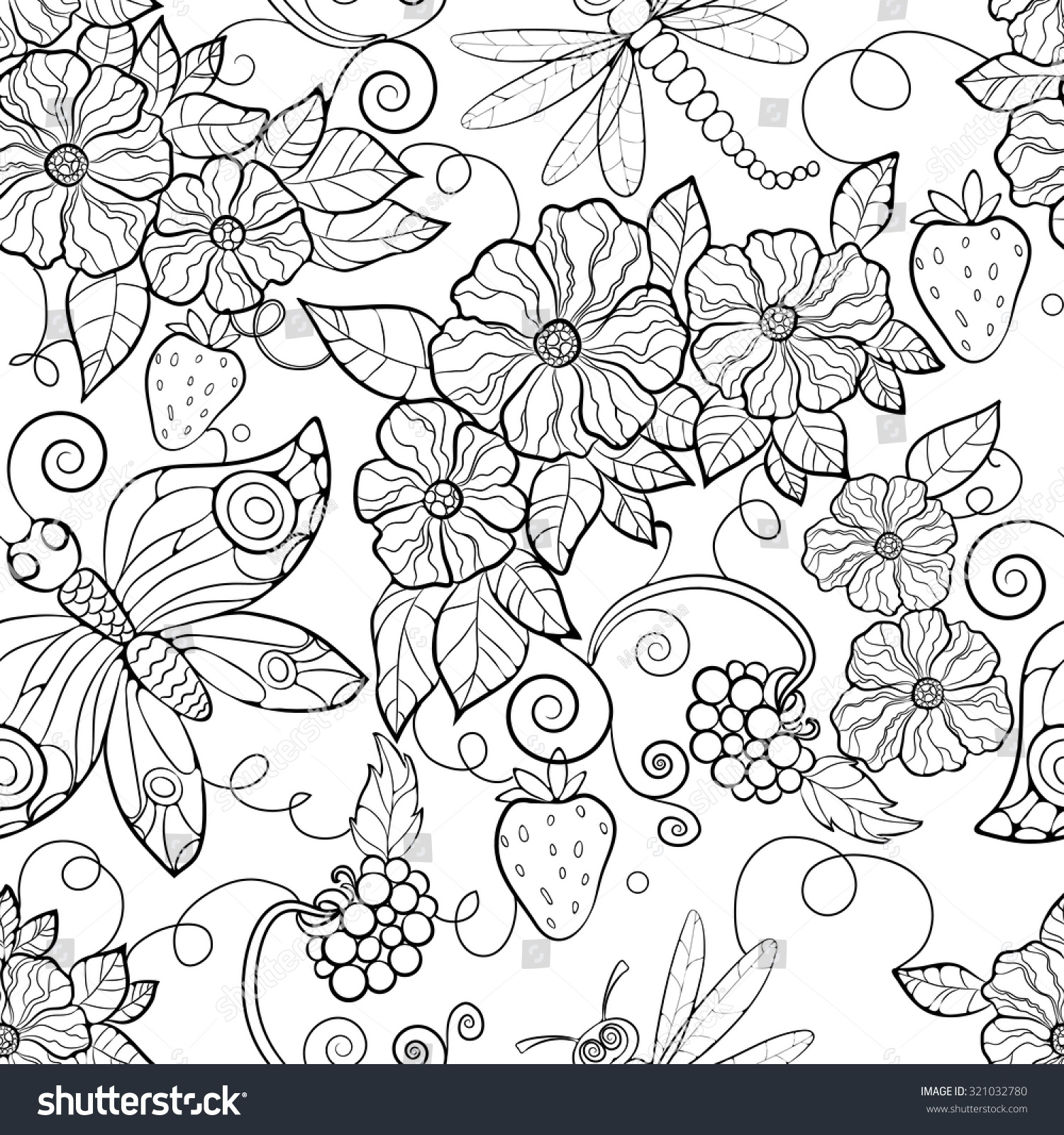 1500x1600 Inspiring Printable Butterfly Pattern Flowers Coloring Pages