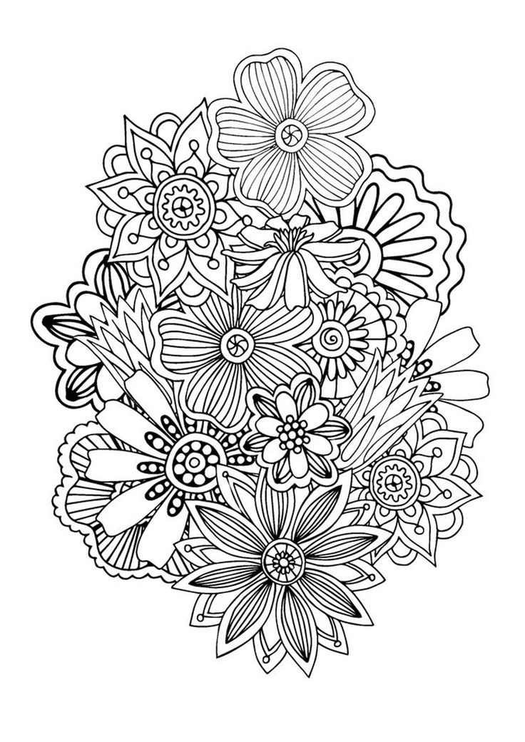 736x1041 Flower Patterns Adult Coloring Pages Printable