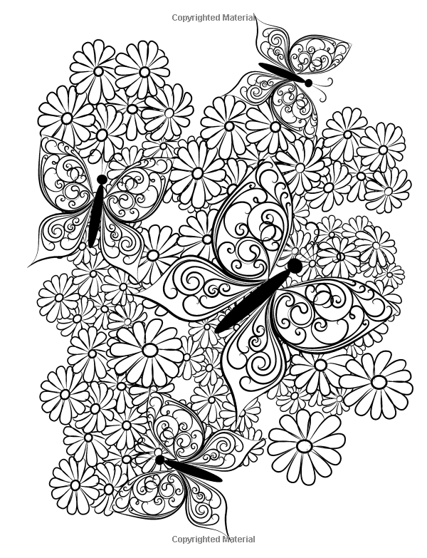 600x783 Adult Coloring Book Butterflies And Flowers Stress Relieving