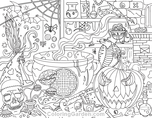 600x464 Halloween Coloring Pages Pdf Free Printable Halloween Adult