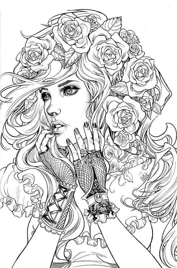 564x855 People Coloring Pages For Adults Adult Coloring Pages People Just