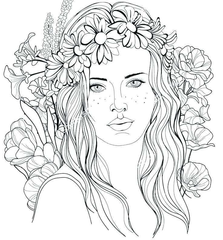 736x792 Coloring Pages Image Of A Girl With A Floral Wreath In Her Hair