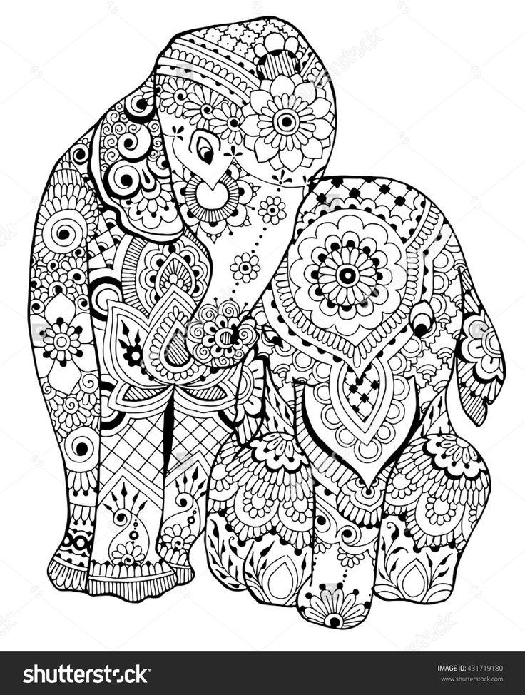 Adult Coloring Pages Printable Elephant