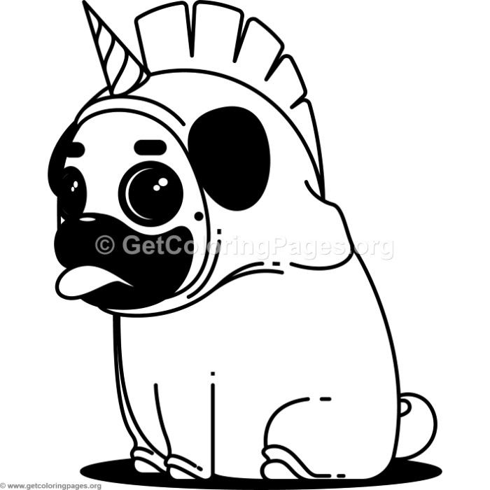 700x700 Free Instant Download Pug Unicorn Coloring Pages