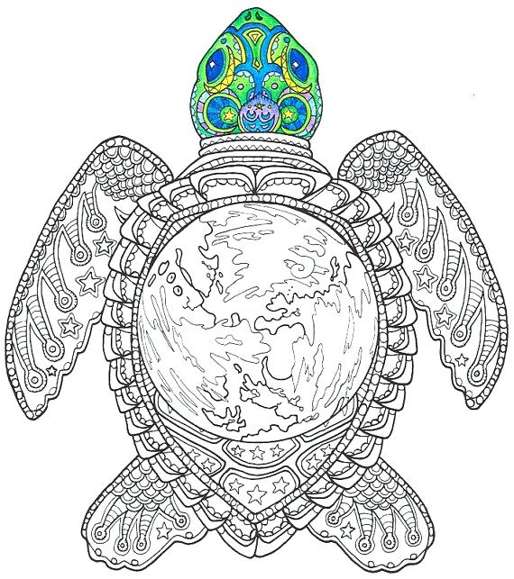 570x643 Coloring Pages Turtle Adult Coloring Page World Turtle Printable