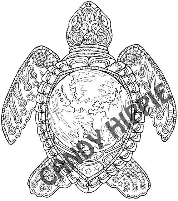 570x644 Adult Coloring Page World Turtle Printable Coloring Page