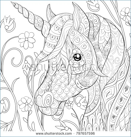 Unicorn Head Adult Coloring Pages Printable | 470x450