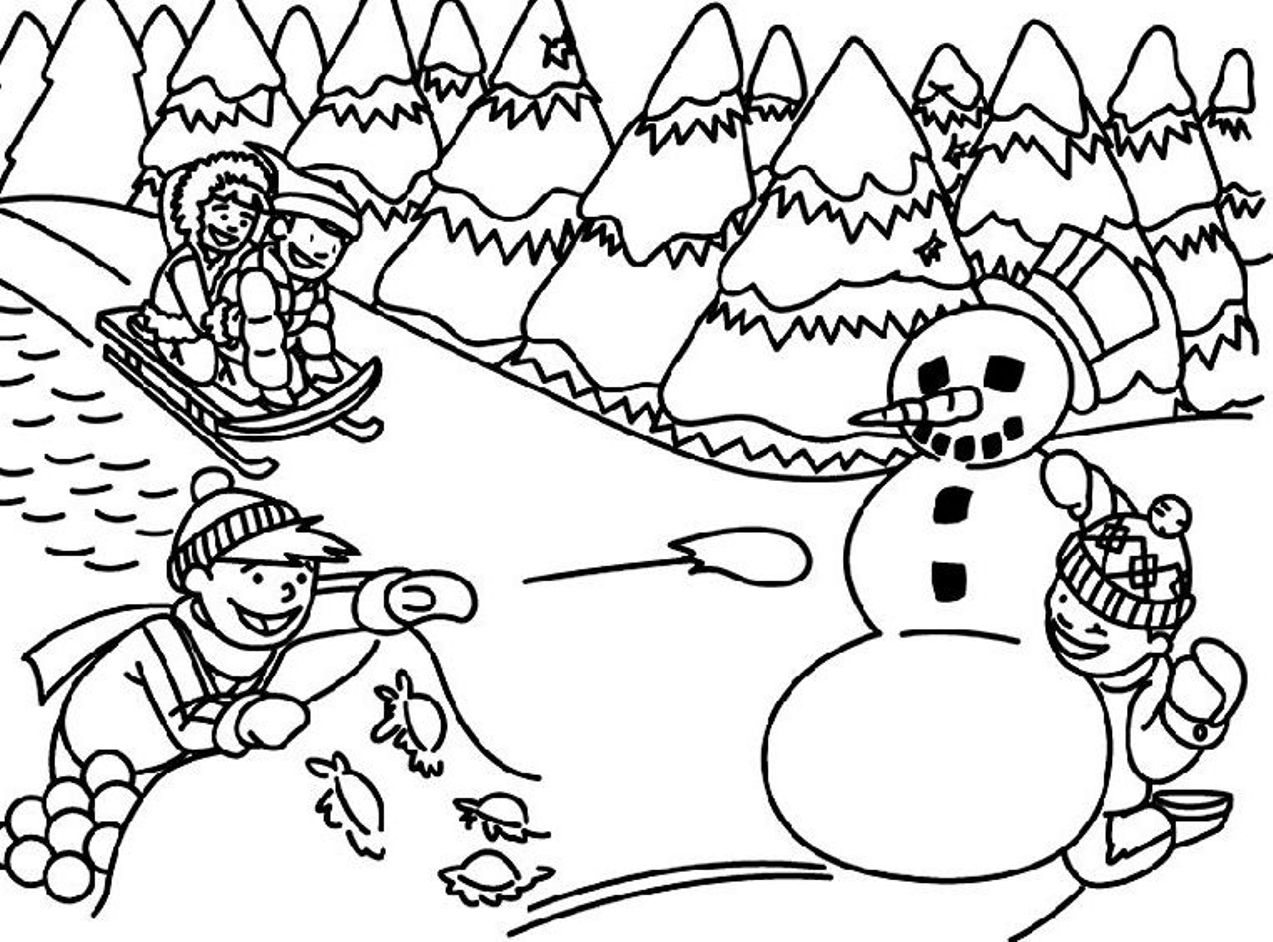 1273x942 Winter Scene Coloring Pages