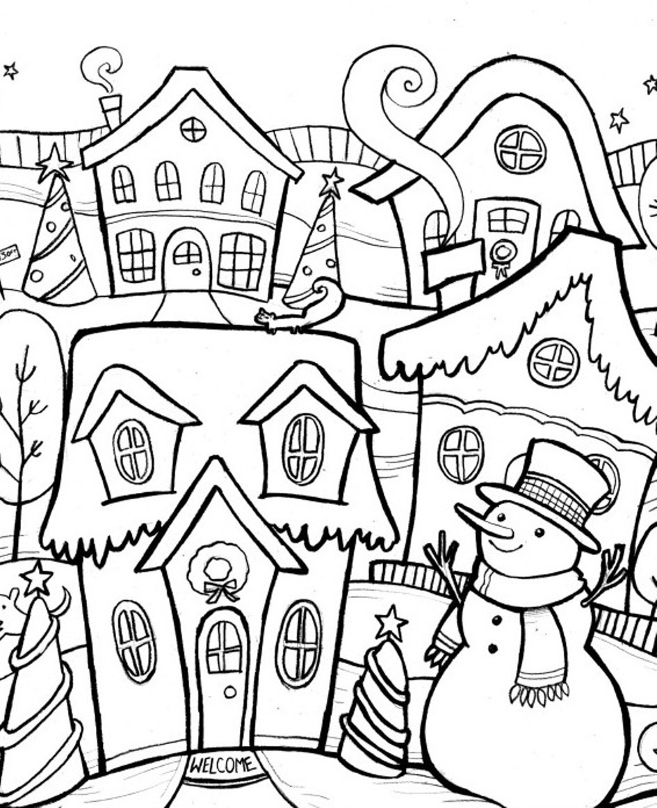 945x1162 Winter Scene Coloring Pages Adult Coloring Pages Winter Scenes
