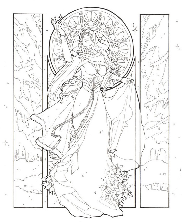 699x850 Adult Coloring Page Winter Woman In Winter