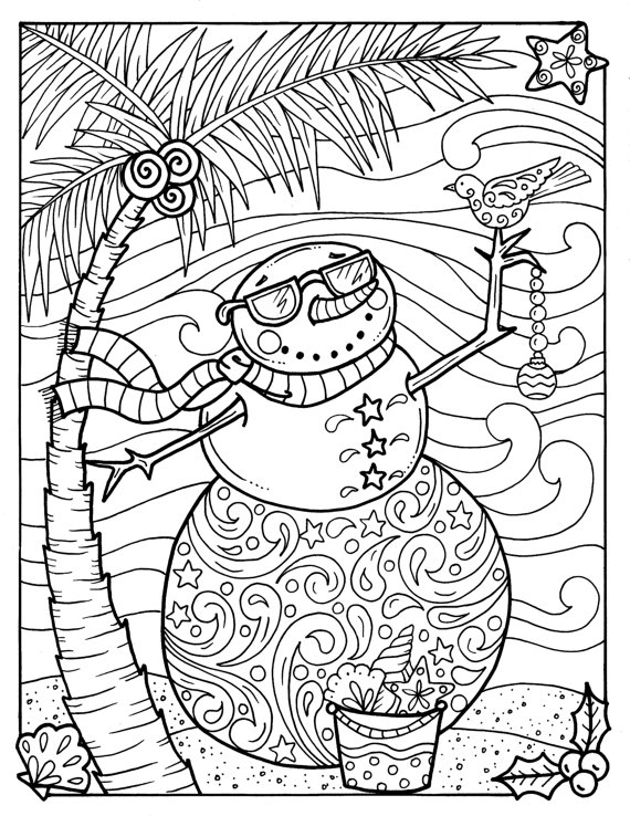 570x738 Tropical Snowman Coloring Page Adult Coloring Beach Holidays
