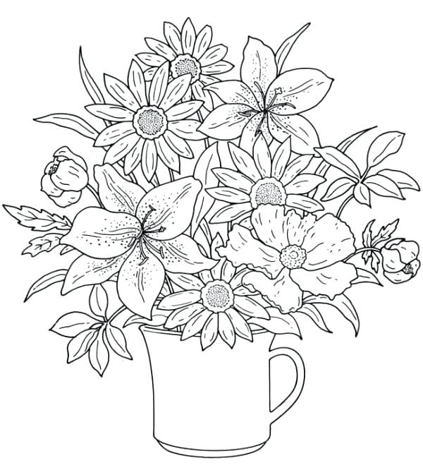 600x666 Spring Coloring Pages For Adults Spring Pictures To Color Spring