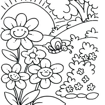 350x350 Coloring Pages With Flowers Spring Coloring Pictures For Adults
