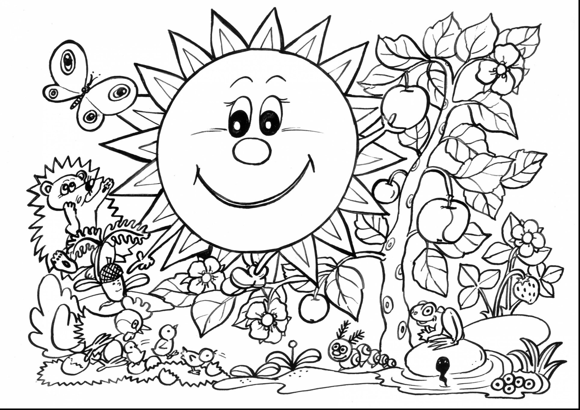 1929x1366 Fascinating Surprising Adult Spring Coloring Page With Image