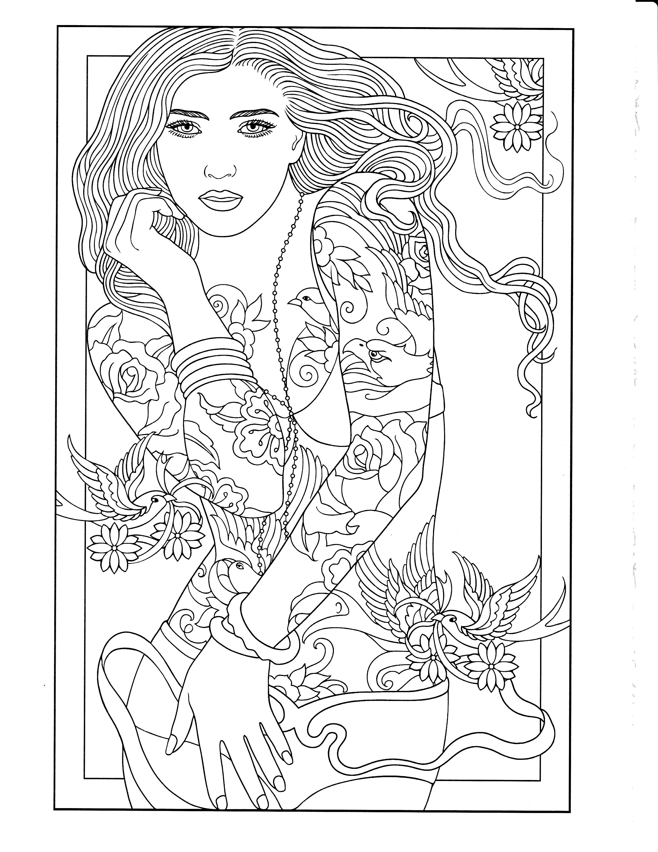 2550x3300 Printable Coloring Page Body Art Coloring Pages