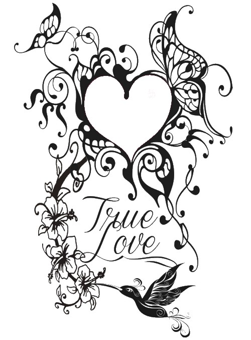 500x676 Adult Coloring Page Valentine S Day Tattoo Heart With Pages