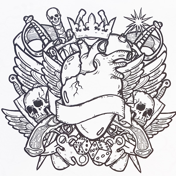 600x600 Tattoo Coloring Page Tattoo Coloring Pages Designs Adult Colouring