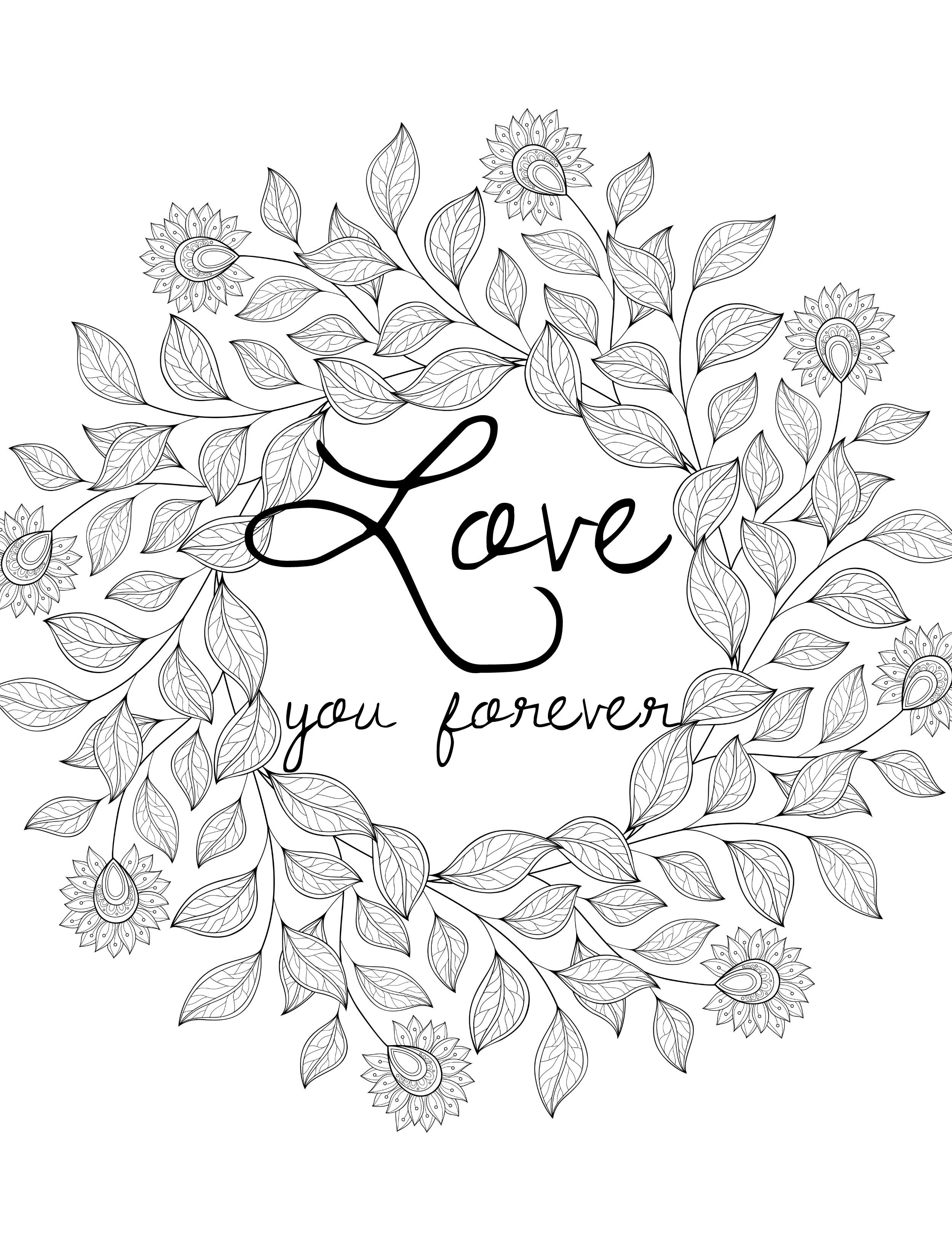 2500x3300 Love Valentines Day Coloring Pages For Adults Black And White