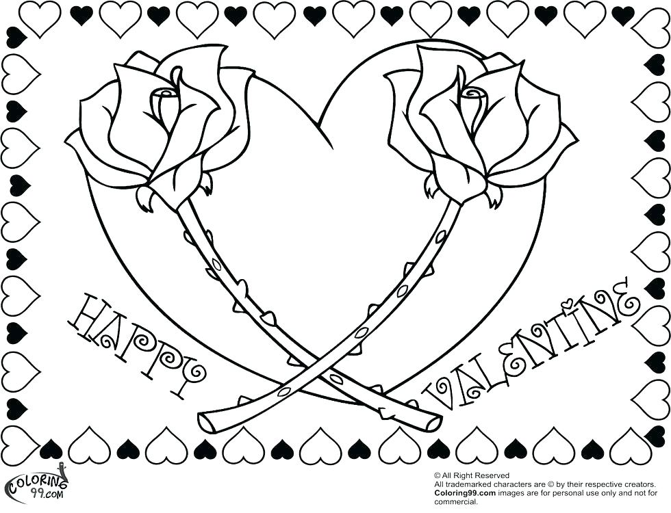 980x750 Rose Coloring Pages Valentines Day Coloring Pages For Adults Free
