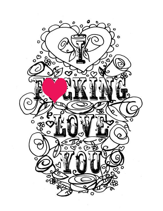 570x738 Adult Coloring Page Valentine's Day Curse Swear Sheet
