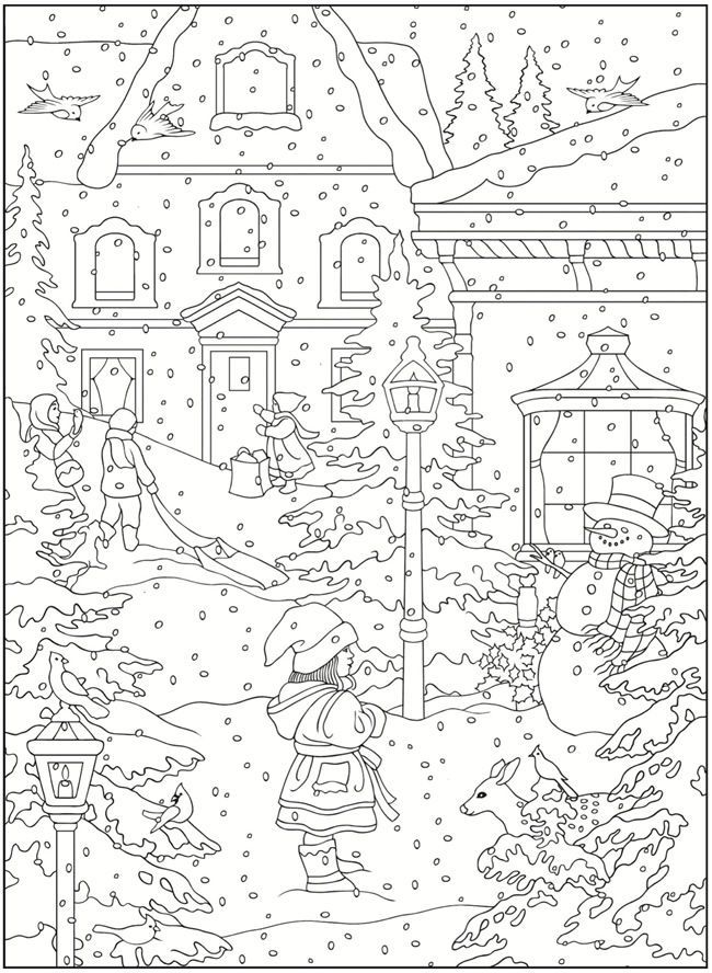 650x888 Dover Coloring Book Creative Haven Winter Scapes