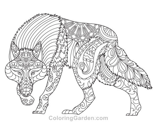 600x464 Free Printable Wolf Adult Coloring Page Download It In Pdf Format