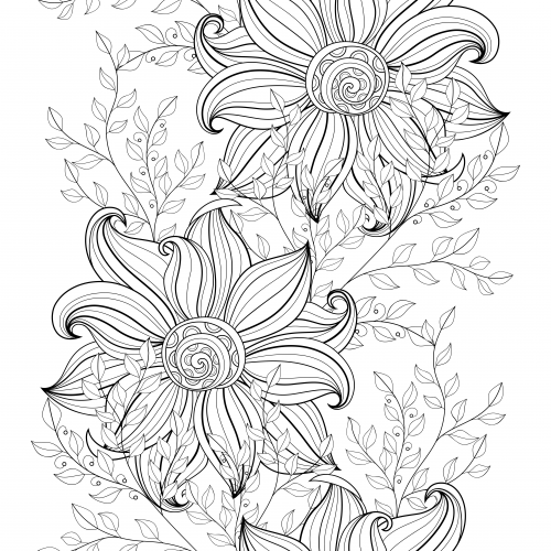 500x500 Flowers Advanced Coloring Pages