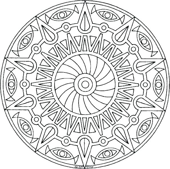 595x590 Advanced Coloring Pages To Print Owl Mandala Coloring Page Free