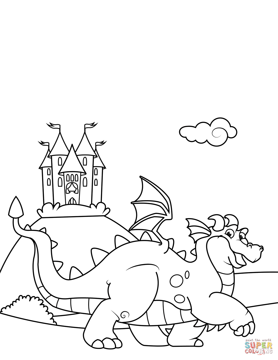 1159x1500 Breakthrough Castle And Dragon Coloring Pages